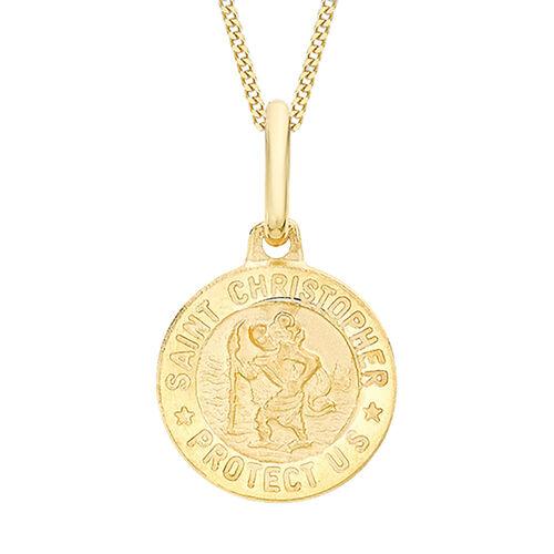 9K Yellow Gold Christopher Round Medal Satin Pendant
