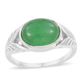 Green Jade (Ovl) Solitaire Ring in Sterling Silver 3.080 Ct.