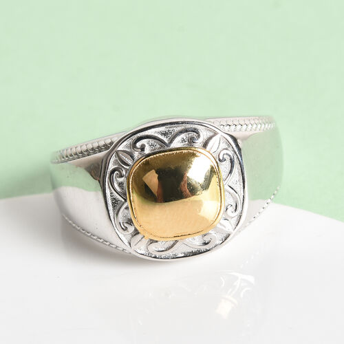 Platinum and Yellow Gold Overlay Sterling Silver Ring, Silver wt 6.74 Gms