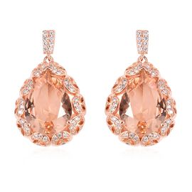 Simulated Morganite and Simulated Diamond Halo Drop Earrings in Rose Gold Tone