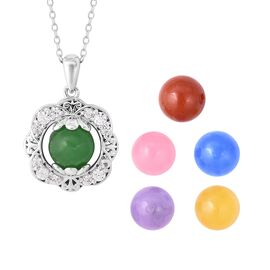 Set of 6 - Blue, Red, Yellow, Green, Pink and Purple Jade and Natural White Cambodian Zircon Openabl