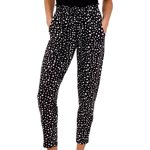 NOVA of London - Raindrop Print Soft Touch Joggers in Black (Size L, 20-24)