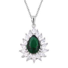 Simulated Emerald (Pear), Simulated Diamond Pendant With Chain (Size 20) in Silver Plated