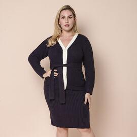 LA MAREY 100% Acrylic Ribbed Knit Skirt - Black