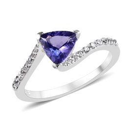 1 Carat Tanzanite and Zircon Bypass Ring in Platinum Plated Silver