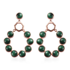 Malachite Drop Earrings (with Push Back) in Rose Gold Tone 19.72 Ct.