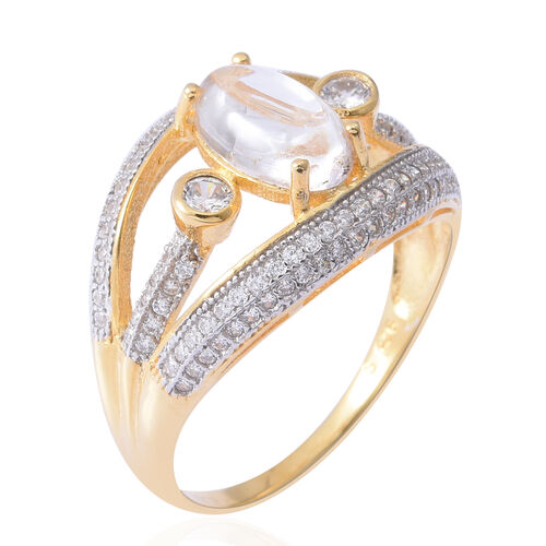 ELANZA Simulated Diamond (Rnd), Simulated Milky Opal Ring in Rhodium and Yellow Gold Overlay Sterling Silver