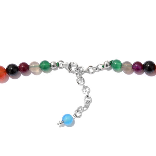 Multi Colour Quartsite Gradual Beads Necklace (Size 18 with 2 inch Extender) with Lobster Lock in Platinum Overlay Sterling Silver 243.750 Ct