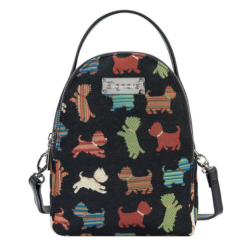 Signare Tapestry - 2 Piece Set - Playful Puppy Bagpack (17X6X22cm) and Cosmetic Bag (11X1.5X8cm) in Black Colour