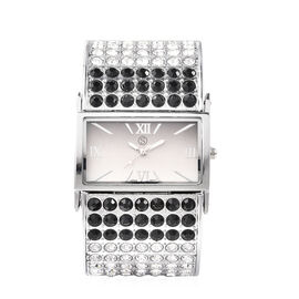 STRADA Japanese Movement Black and White Crystal Bangle Watch (Size 6.5-7) in Silver Tone with Black