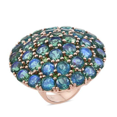 Peacock Quartz (Rnd), Tsavorite Garnet Cocktail Ring in Rose Gold Overlay Sterling Silver 35.750 Ct. Silver wt 18.31 Gms.
