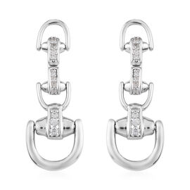 Sundays Child - Natural Cambodian Zircon Snaffle Dangle Earrings (with Push Back) in Platinum Overla