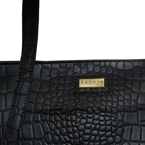 Monster Deal- Assots London AGNES Croc Embossed Genuine Leather Tote Bag with Zipper Closure (Size 42x28x10) - Black