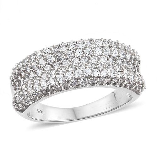 J Francis - Platinum Overlay Sterling Silver (Rnd) Ring Made with SWAROVSKI ZIRCONIA, Silver wt 5.20 Gms. Number of Swarovski 139