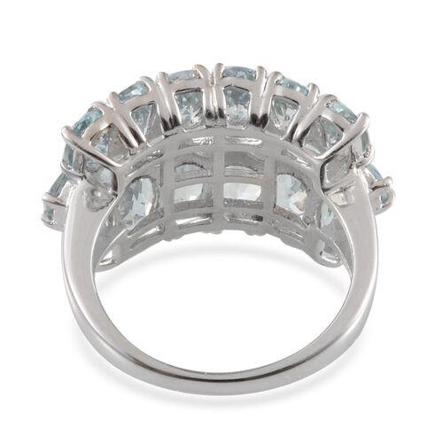 Espirito Santo Aquamarine (Ovl) Cluster Ring in Platinum Overlay Sterling Silver 6.000 Ct.