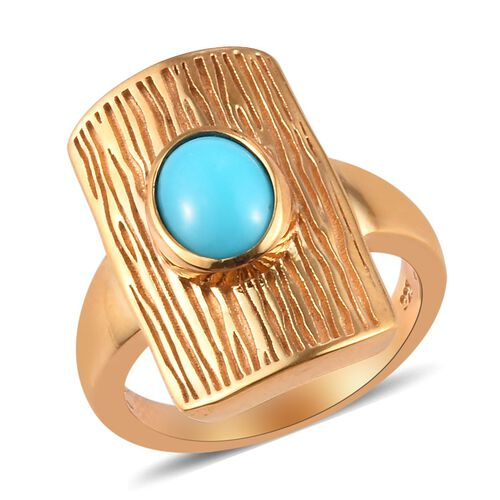 Arizona Sleeping Beauty Turquoise Ring in 14K Gold Overlay Sterling Silver 1.00 Ct, Silver wt 5.76 G