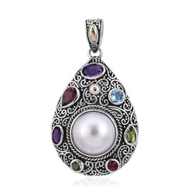Royal Bali 1.93 Ct Mabe White Pearl and Multi Gemstones Pendant in Sterling Silver 6.3 Grams