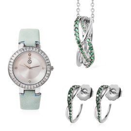 3 Piece Set - STRADA Japanese Movement White Austrian Studded Water Resistant Watch with Green Strap