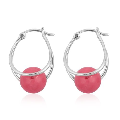 Super Auction -Pink Jade (Rnd 10 mm) Hoop Earrings (with Clasp) in Rhodium Plated Sterling Silver 17.000 Ct.