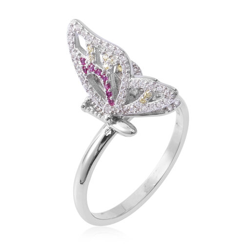 ELANZA Simulated Ruby (Rnd), Simulated Diamond and Simulated Citrine Butterfly Ring in Rhodium Overlay Sterling Silver
