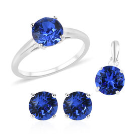 3 Piece Set - J Francis - Crystal from Swarovski Sapphire Colour Crystal (Rnd) Solitaire Pendant, St