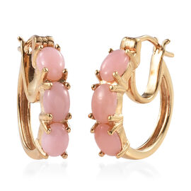 Peruvian Pink Opal (Ovl) Hoop Earrings (with Clasp Lock) in 14K Gold Overlay Sterling Silver 2.250 Ct. Silver wt 5.03 Gms.