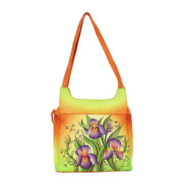SUKRITI PERIMER Super Soft Genuine Leather Handprint Clitoria Flower Shoulder Bag (Size 26x26x7 Cm)