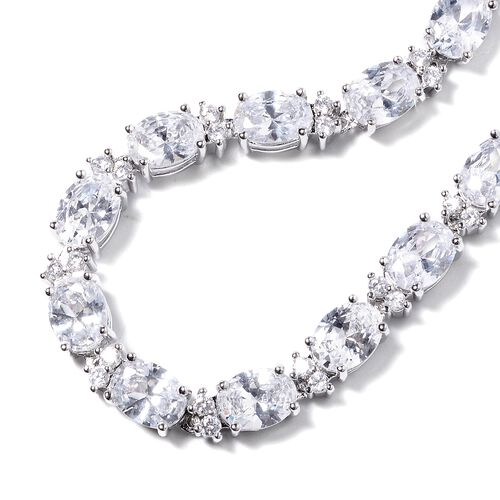 Designer Inspired- Simulated White Diamond (Ovl and Rnd) Tennis Necklace (Size 16) in Silver Tone