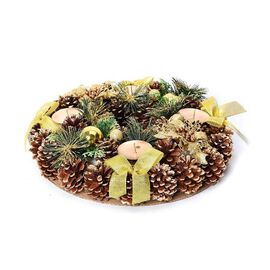Christmas Decoration Wreath with Four Candle Holder and Pine (Dia 35 Cm) - Gold