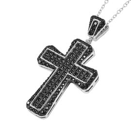 Boi Ploi Black Spinel (Rnd), Natural Cambodian White Zircon Cross Pendant with Chain in Rhodium and Black Plating Sterling Silver 2.750 Ct, Silver wt 5.7 Gms, Number of Gemstone 250.