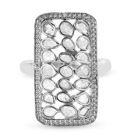 Artisan Crafted Polki Diamond Ring in Rhodium Overlay Sterling Silver 1.05 Ct.