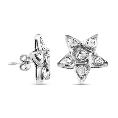 Artisan Crafted Polki Diamond Star Earrings (with Push Back) in Platinum Overlay Sterling Silver 0.50 Ct.