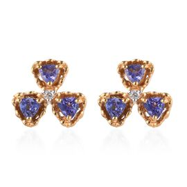 GP Tanzanite and Zircon and Blue Sapphire Shamrock Stud Floral Earrings in Gold Plated Silver