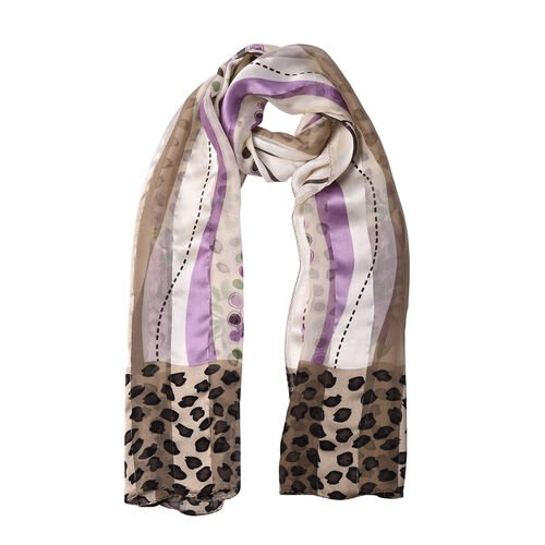 LA MAREY 100% Mulberry Silk Purple Flowers Print on Cream Scarf (165x50cm)