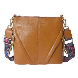 SUPER SOFT 100% Genuine Leather Crossbody Bag with Patterned Shoulder Strap (23x7x22cm) - Tan