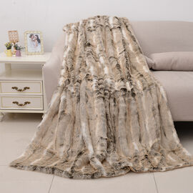 Superior Quality Faux Fur Deer Blanket with Reverse Faux Mink (Size 200x150 Cm)