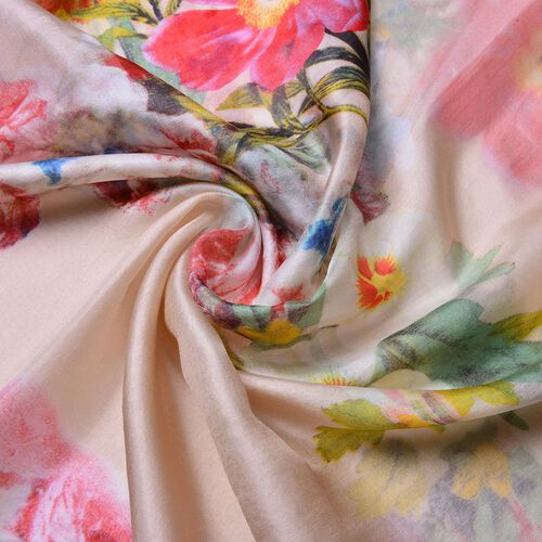 100% Mulberry Silk Apricot, Pink and Multi Colour Floral Pattern Scarf (Size 180X110 Cm)