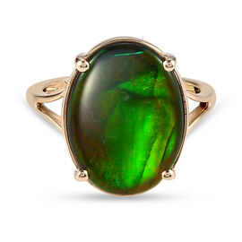 9K Yellow Gold AA Canadian Ammolite (OV16x12) Solitaire Ring 5.10 Ct