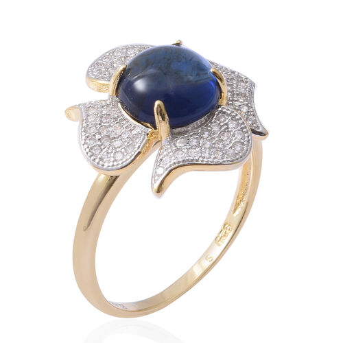 ELANZA Simulated Blue Opal (Rnd), Simulated Diamond Ring in Platinum and Yellow Gold Overlay Sterling Silver