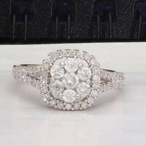 9K Yellow Gold SGL Certified White Diamond (I3/G-H) Ring 1.00 Ct.