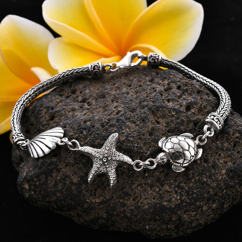 Royal Bali Collection - Sterling Silver Sea Shell, Starfish and Turtle Tulang Naga Bracelet (Size 7.5), Silver wt 14.20 Gms