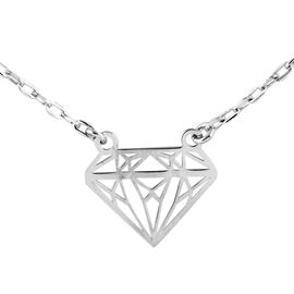 Italian Mega Deal- Sterling Silver Diamond Shape Necklace (Size 16 with 2 Inch Extender)
