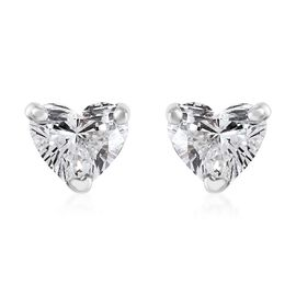 RHAPSODY 950 Platinum IGI Certified Diamond (Hrt) (VS/E-F) Heart Stud Earrings (with Screw Back) 0.2