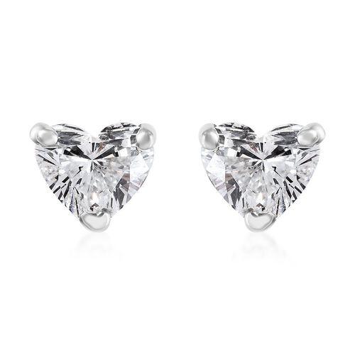 RHAPSODY 950 Platinum IGI Certified Diamond (Hrt) (VS/E-F) Heart Stud Earrings (with Screw Back) 0.2
