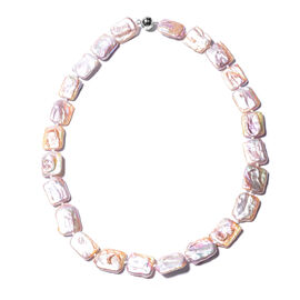 Natural Colour Baroque Pearl Necklace (Size 20) in Rhodium Overlay Sterling Silver