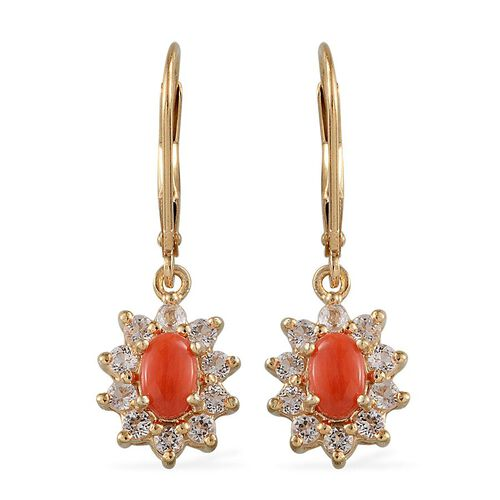 Mediterranean Coral (1.00 Ct),White Topaz 14K Gold Overlay Sterling Silver Earring  1.750  Ct.