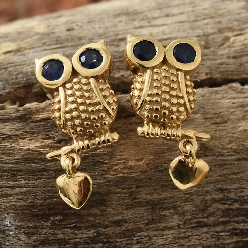 WEBEX- Kanchanaburi Blue Sapphire (Rnd) Owl Earrings (with Push Back) with Heart Charm in 14K Gold Overlay Sterling Silver 0.500 Ct
