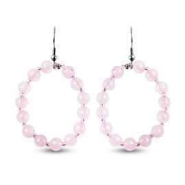 Rose Quartz and Simulated Rose Quartz Fish Hook  Earrings in Stainless Steel  48.50 Ct.