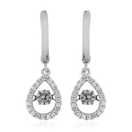 J Francis Made with Swarovski Zirconia Dancing Drop Earrings in Platinum Plated Sterling Silver 4.25