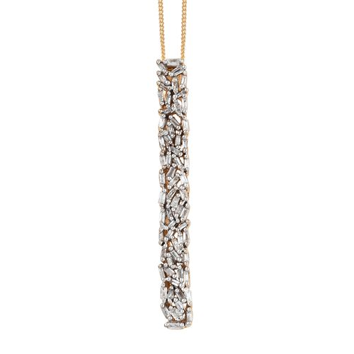 Diamond (Bgt) Pendant with Chain in 14K Gold Overlay Sterling Silver 0.331 Ct.